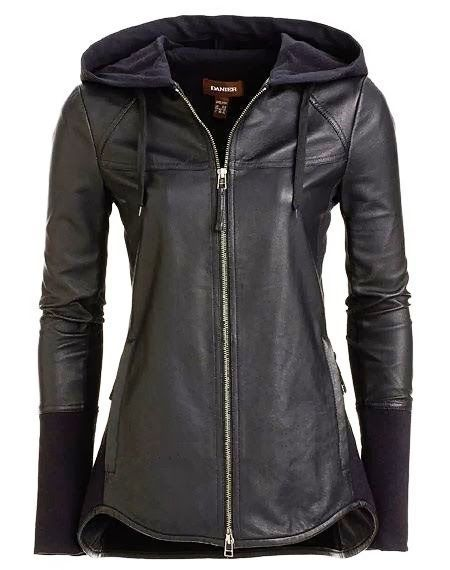 Gorgeous  black leather jacket hoodie -fall collection