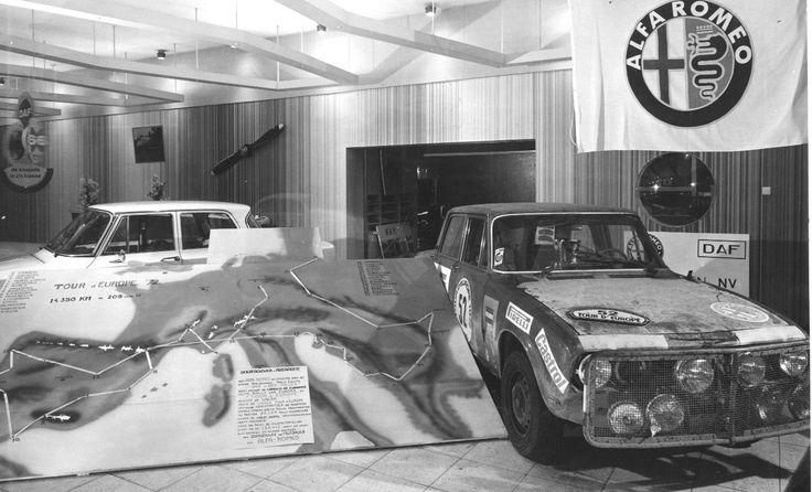 Tour d'Europe Rally 1972 Bij Alfa Dealer Kruize in Apeldoorn (NL)