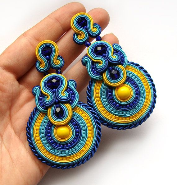 Statement earrings soutache colorful handmade by SaboDesign.