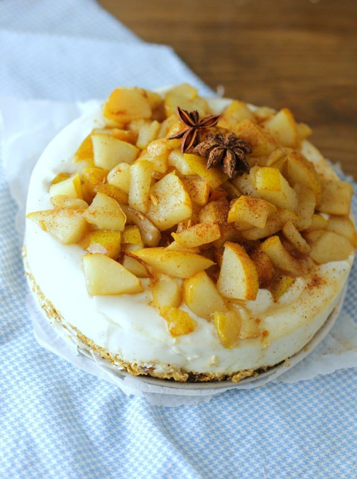 kruidige peren yoghurt taart