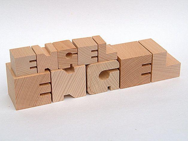 Weihnachtsfiguren - ENGEL und kleiner Engel Holzbuchstaben Buche - ein Designerstück von kleinholz bei DaWanda