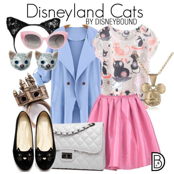 Disneyland Cats by leslieakay on Polyvore featuring Bense Bags, Crap, Disney, disney, cats, disneybound and disneycharacter