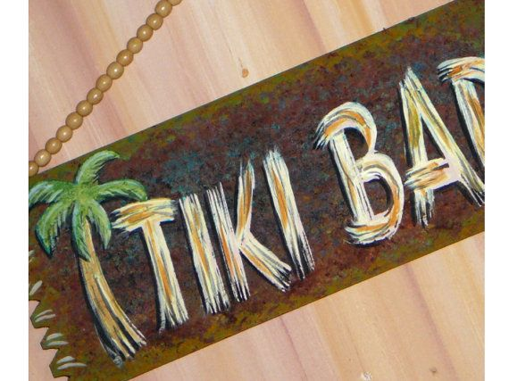 TIKI BAR painted wood sign $15
