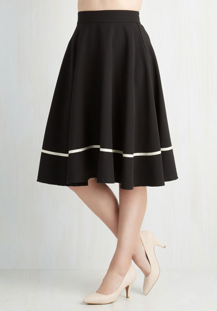 Streak of Success Skirt in Black. When you don this black A-line skirt, you channel a winning, smart style! #black #modcloth