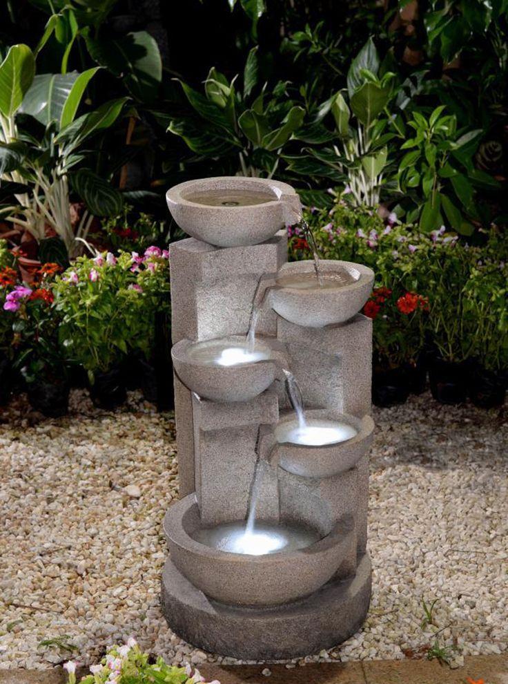 Polyresin And Fiberglass Multi Tier Bowl Fountain Garden