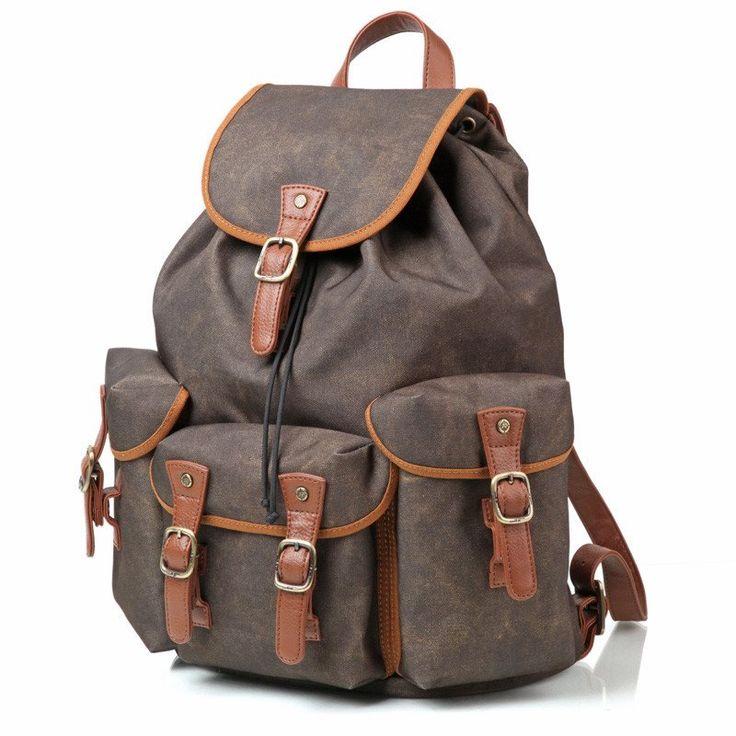 Waterproof Army Green Canvas Travel Backpack School Backpack Men's Backpack Cool Hiking Backpack FB15