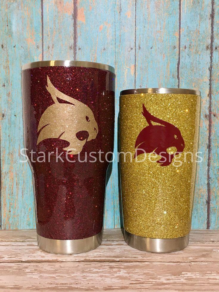 Texas State University Bobcats Inspired Glitter Tumbler - Yeti, Rtic, or Ozark - 30 oz. or 20 oz. (sealed decal) by StarkCustomDesigns on Etsy