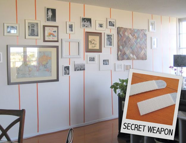 Use velcro strips to hang framed photos. | 28 Decorating Tricks To Brighten Up Your Rented Home