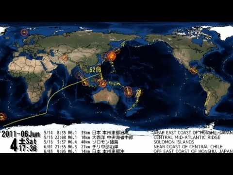 World Earthquakes 2011 Visualization Map.  All earthquakes in the world from January 1, 2011 until December 31, 2011