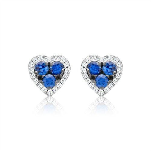 Herzförmiger Diamantohrschmuck Saphir Ohrstecker DE0037 http://www.thejewellershop.com/ #ohrschmuck #diamantohrschmuck #weißgold #schmuck #ohrringe #ohrstecker #herzform #heart #jewelry #saphire #diamonds