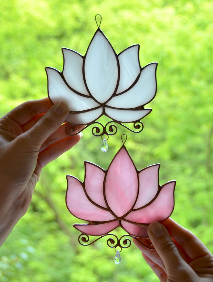 Lotus stained glass, crystal hanging window suncatcher, waterlily window decoration, yoga lover gift