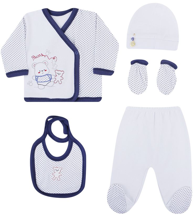 Mikilino, Комплект одежды для малыша (белый/синий) 5 предметов