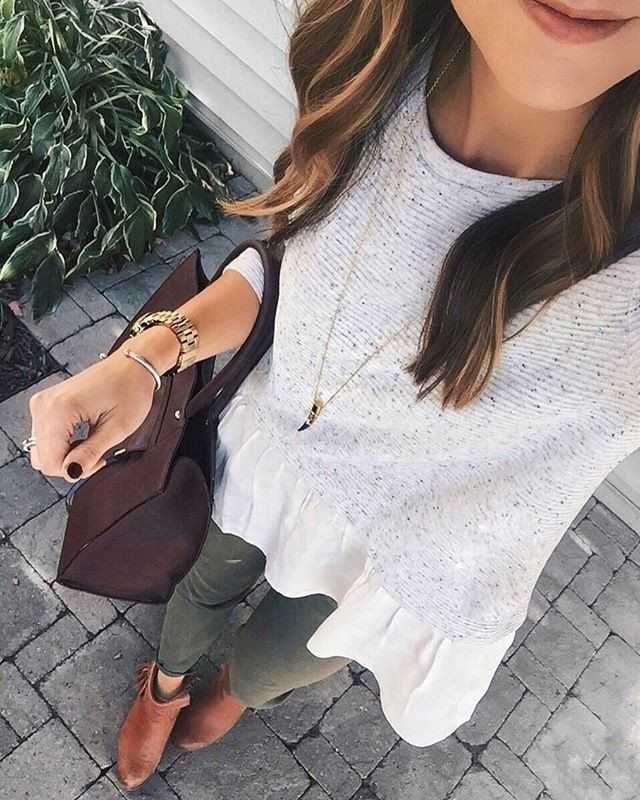 #spring #outfits Layered Blouse + Olive Skinny Pants + Brown Leather Booties