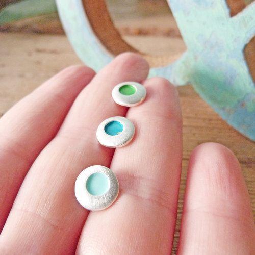 Pendientes de plata circulo mediano con esmalte turquesa