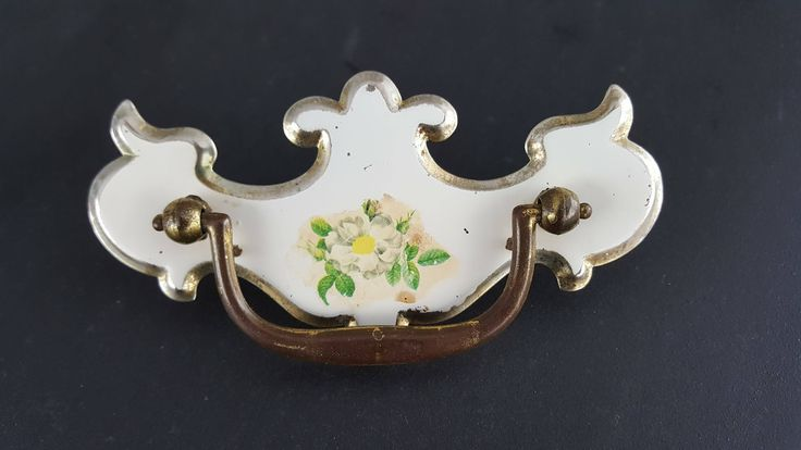 Drawer knobs handle brass white flower