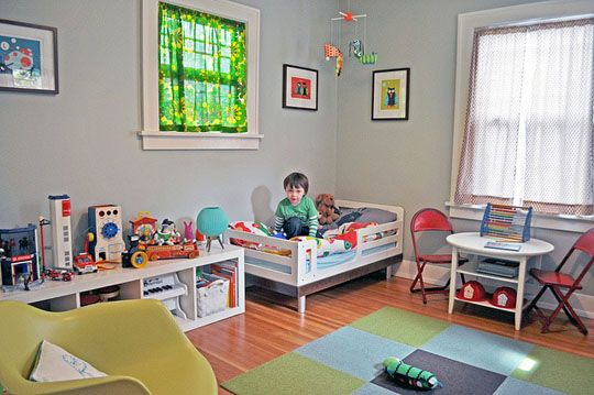"I know this is a ""boys"" room, but I LOVE all of the furniture in here. Especially the shelf on the floor, which I know is from Ikea and the shape of the toddler bed."