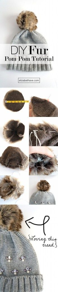 DIY Fur Pom Pom Tutorial | These pom moms are everywhere right now. If you have some scraps of faux fur laying around, this is the perfect sewing tutorial to use it up! Once you've made the fur pom pom, sew it on whatever you like, or put it on a pin so you can put it on anything, anytime! | www.elizabethave.com