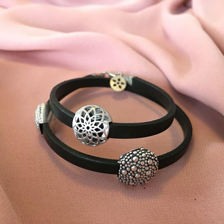 Leather bracelet - handmade in Denmark - with silver pods