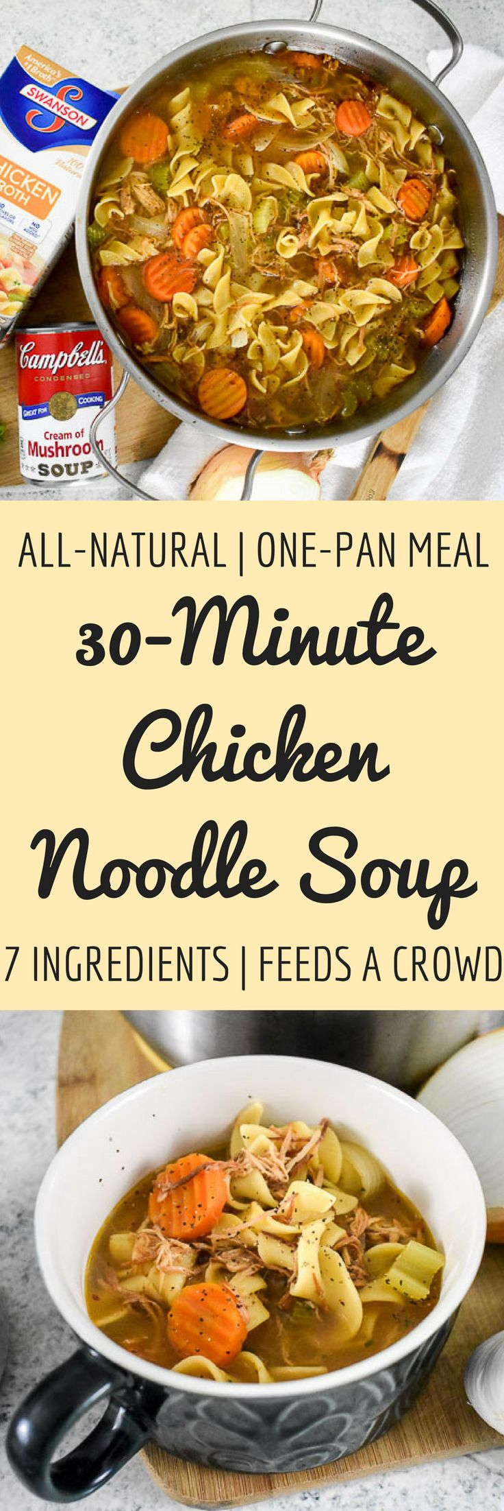 This 30-minute chicken noodle soup is made with all-natural ingredients in one pot and feeds a crowd! Perfect for cool weather, cozy gathering, or combating colds. Recipe by Dash of Jazz via @dashofjazzblog #Homemade4theHolidays #ad