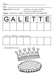 Reconstituer et écrire le mot galette
