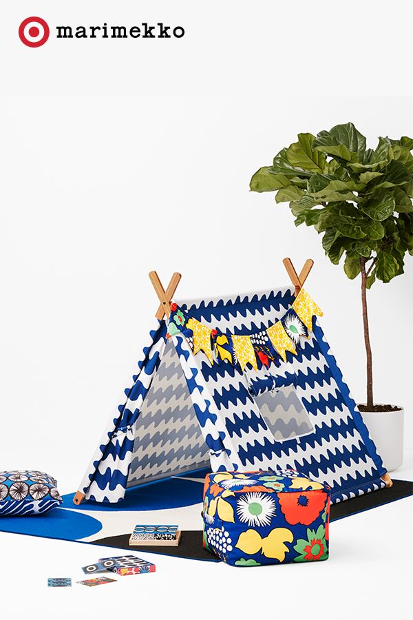 Design a whole world of color and print with the Marimekko for Target collection, available April 17. With 18 stunning prints and over 200 pieces of designer chic, this adorable tent is just a sneak peek into the wonderful world of Marimekko. Add a bright garland, some pillows and a pouf for a place sure to spark play every single day.