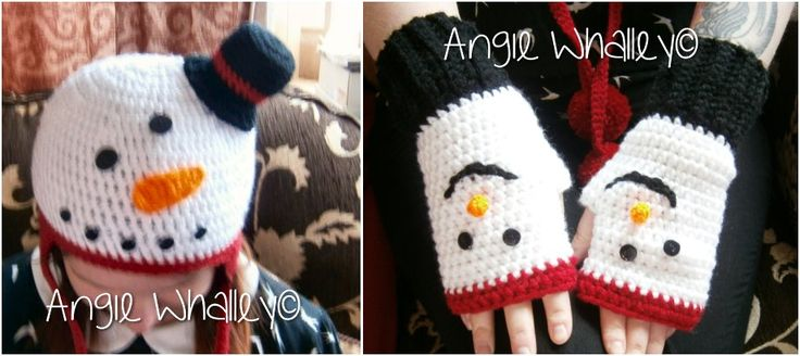 My sister asked me to make her a snowman hat & gloves & this is what I made for her... she loves em too (my daughter woz modelling them tho lol) :)