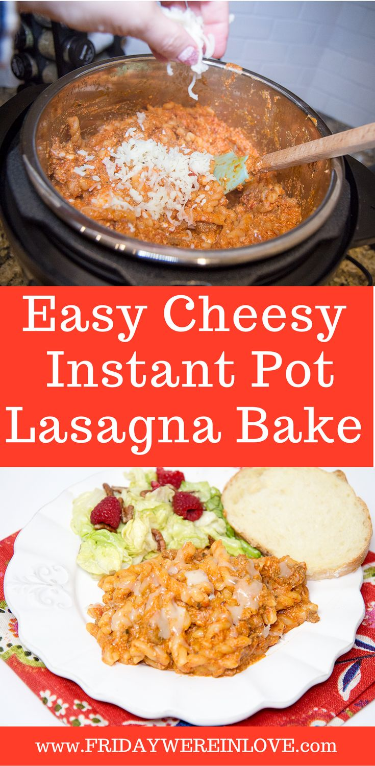 Easy Cheesy Lasagna Bake in the Instant Pot. A great dinner idea that you can make in less than 20 minutes!