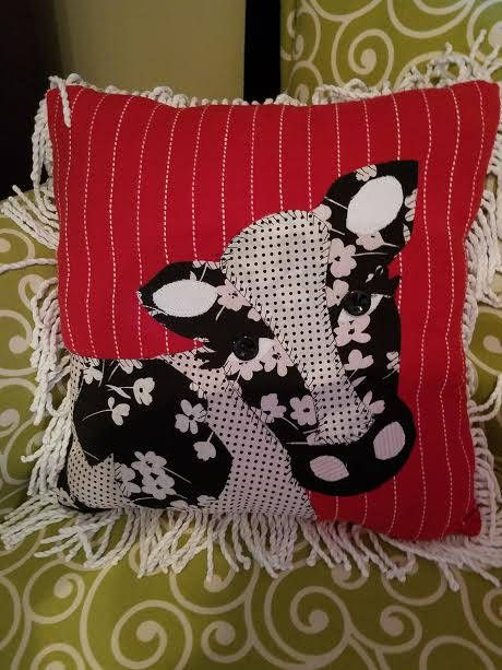 Farm Cow Applique Pillow with Fringe