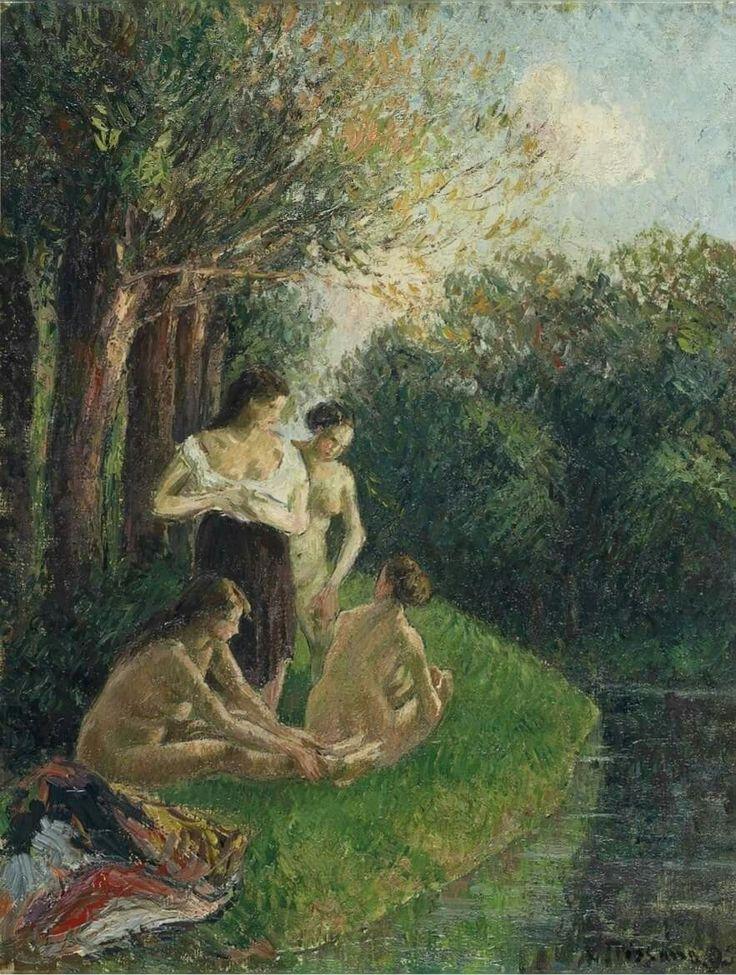 Camille Pissarro - Quatre baigneuses discutant au bord de l'eau, 1895. Oil on canvas, 35.4 x 27.2 cm (13 7/8 x 10¾ in.).