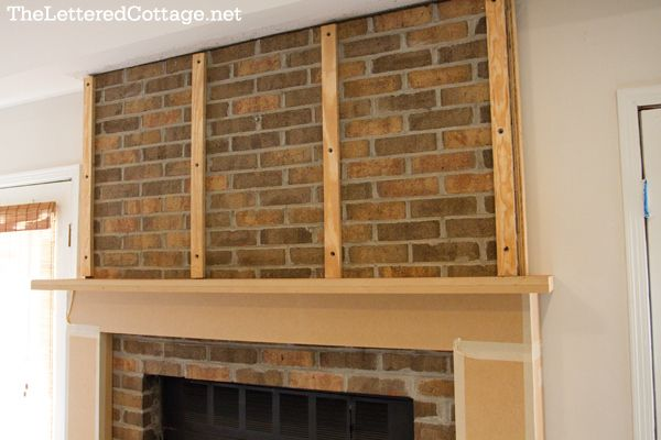 How to cover a fireplace with drywall before and after - How to cover brick fireplace ...