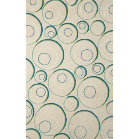 Liora Manne Spello Hoops Aqua/Ivory Outdoor Area Rug, White