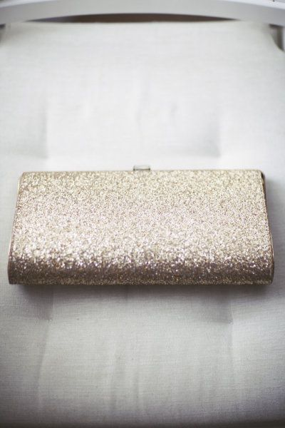 gold sequined wedding clutch