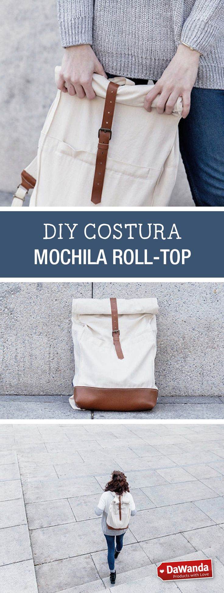 Tutorial DIY - CÓMO HACER UNA MOCHILA DE TELA ESTILO ROLL-TOP en DaWanda.es