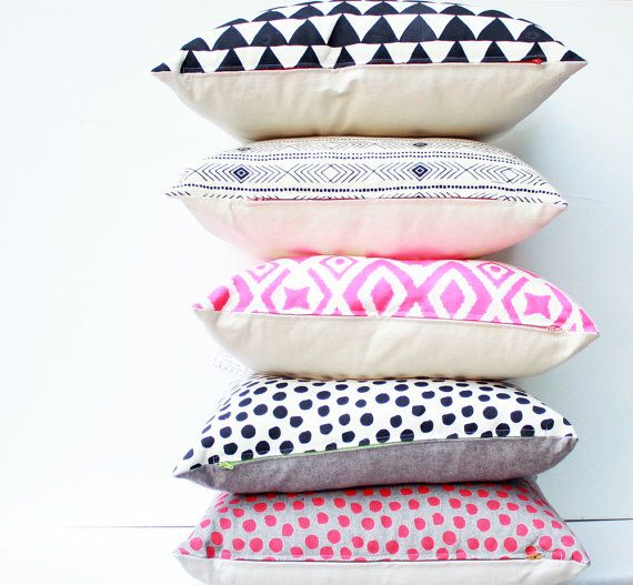 Love these handmade pillows on Etsy so much. Great mix/match patterns.