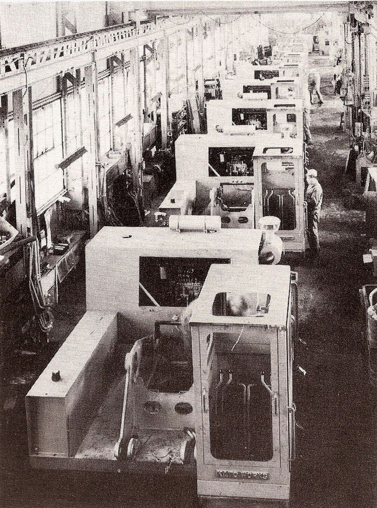 View of the Kato production line in Tokyo, Japan, some time in 1972. Machines on the line are model HD350s. The very boxy structures were a feature of early Kato excavators and subsequent machines were more rounded off as the years went by. While not the most modern of assembly lines, the staff are really turning them out. (Photo: Author's collection)