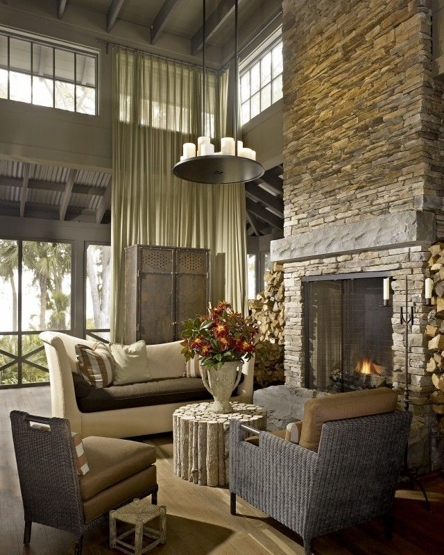 Beautiful Two Story Stone Fireplace Fireplaces