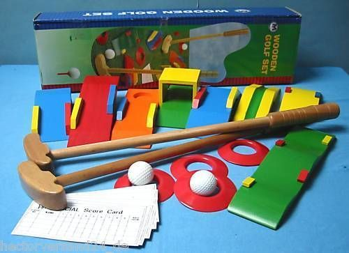 GROSSES-Minigolf-Set-Mini-Golf-8-Hindernisse-Holz-NEU