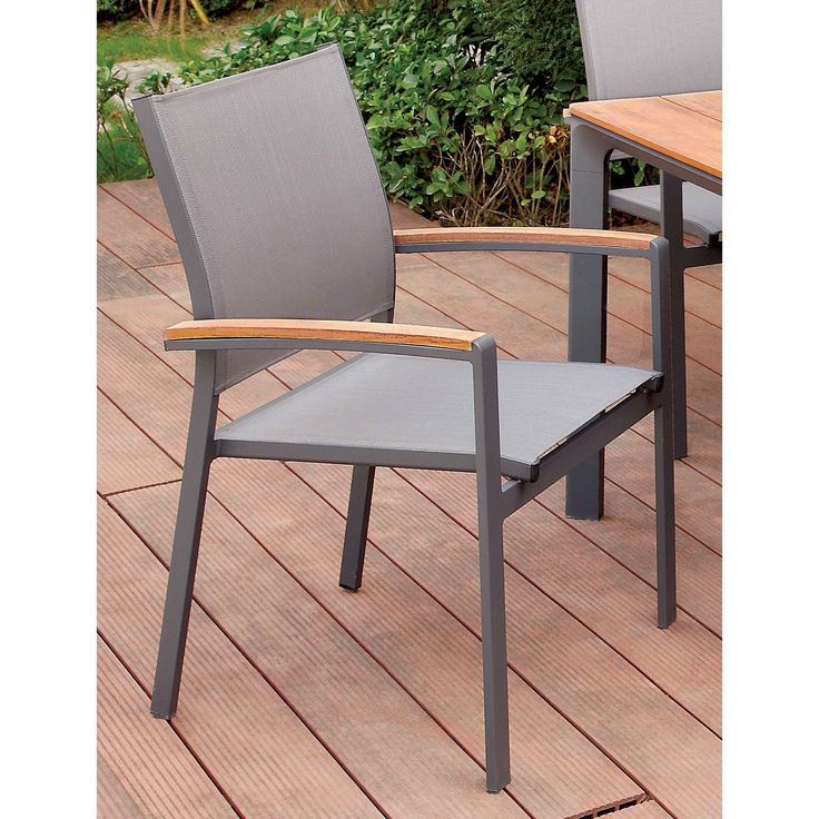 Furniture of America Reyna Contemporary Two-Tone Aluminum Oak/Grey Outdoor Dining Chair (Set of 4), Brown, Patio Furniture