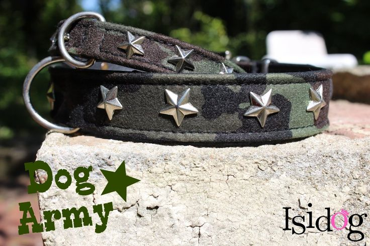 """Collier """"army"""" camouflage estil for dog ! http://www.isidog.fr/accessoires-pour-promenade-chien/422-collier-stars-chocolat.html"""