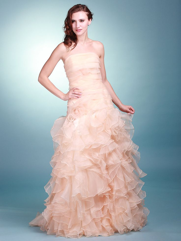 Layered organza strapless mermaid cocktail dress for Mermaid wedding dresses under 500