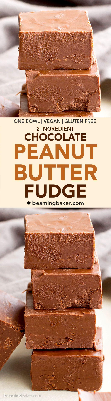 2 Ingredient Vegan Chocolate Peanut Butter Freezer Fudge (V, GF, DF): a super easy recipe for thick, decadent chocolate peanut butter fudge. #Vegan #GlutenFree #DairyFree | BeamingBaker.com
