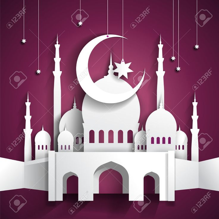 Ramadan Background With 3d Paper Mosque - Hari Raya - Vector ...