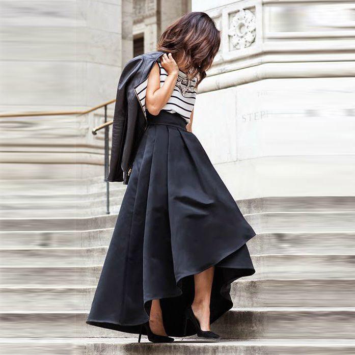 ... Black Skirt Pleats Asymmetrical Zipper Waist Floor Length Satin Skirts