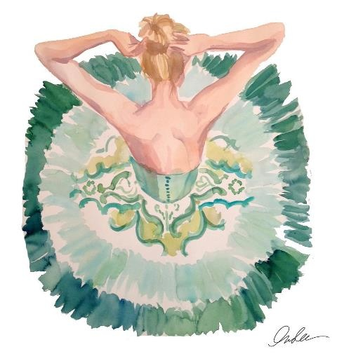 Dance Art, Ballet Dancers, Ballerinas Tutus, Fashion Models, Insl Haynes, Ballet Art, Fashion Illustration, Aerial View, Green Dresses