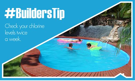 Your builders tip for the day, with compliments from Builders Warehouse, The Grove.  Swimming season is in full swing, so our #BuildersTip today is to check your chlorine and pH levels twice a week. And remember to check your total alkalinity, calcium hardness and total dissolved solids monthly. Get down to your local Builders and get your pool water tested in-store.