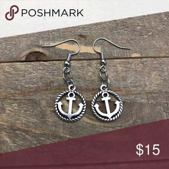 3 for $25 Handmade Silver Anchor Earrings Beautiful handmade silver anchor charm earrings made with nickel free metal posts. handmade Jewelry Earrings