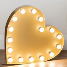 Gold heart marquee light