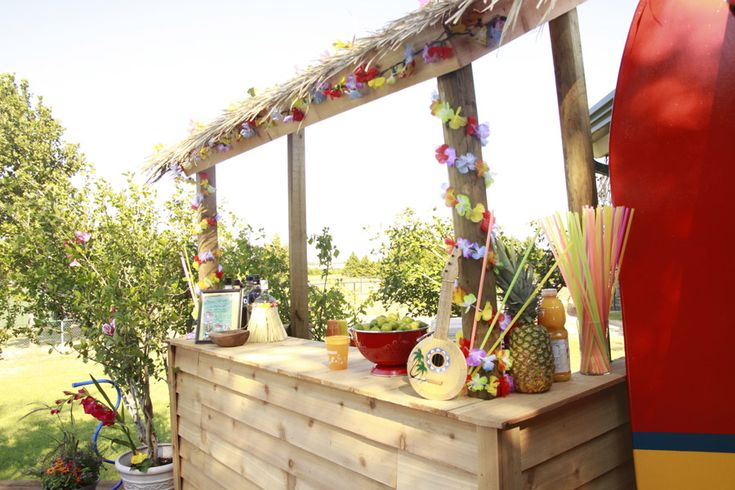 Tiki bar for kids surfer party party pinterest for Surfboard bar top ideas
