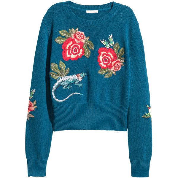 Knit Sweater with Embroidery $129 found on Polyvore featuring tops, sweaters, beaded top, ribbed sweater, blue top, blue floral sweater and flower print sweater