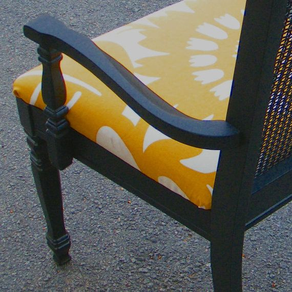 reupholstered cushion, painted black cane chair #sharonnamisha #designs #recovered seat